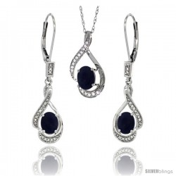 14K White Gold Natural Lapis Lever Back Earrings & Pendant Set Diamond Accent