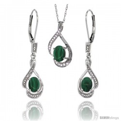 14K White Gold Natural Malachite Lever Back Earrings & Pendant Set Diamond Accent