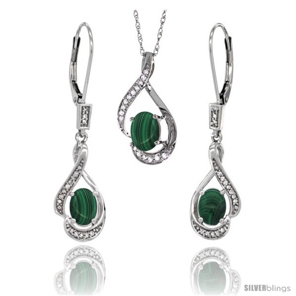 https://www.silverblings.com/77232-thickbox_default/14k-white-gold-natural-malachite-lever-back-earrings-pendant-set-diamond-accent.jpg