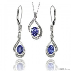 14K White Gold Natural Tanzanite Lever Back Earrings & Pendant Set Diamond Accent