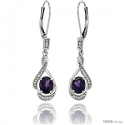 14K White Gold Natural Amethyst Lever Back Earrings, 1 7/16 in long