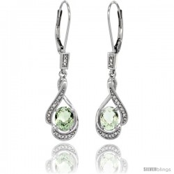 14K White Gold Natural Green Amethyst Lever Back Earrings, 1 7/16 in long