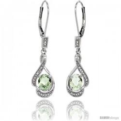 14K White Gold Natural Green Amethyst Lever Back Earrings, 1 7/16 in long