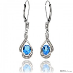 14K White Gold Natural Swiss Blue Topaz Lever Back Earrings, 1 7/16 in long