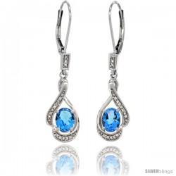 14K White Gold Natural Swiss Blue Topaz Lever Back Earrings, 1 7/16 in long