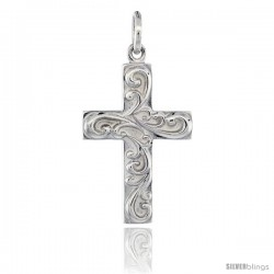 Sterling Silver Cross Pendant w/ Swirls, 1 in (25 mm) tall