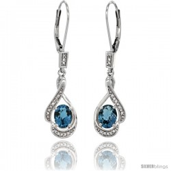 14K White Gold Natural London Blue Topaz Lever Back Earrings, 1 7/16 in long