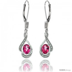 14K White Gold Natural Pink Topaz Lever Back Earrings, 1 7/16 in long