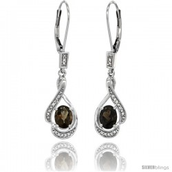 14K White Gold Natural Smoky Topaz Lever Back Earrings, 1 7/16 in long