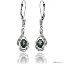14K White Gold Natural Mystic Topaz Lever Back Earrings, 1 7/16 in long