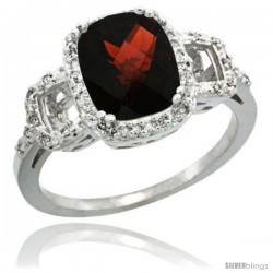 Sterling Silver Diamond Natural Garnet Ring 2 ct Checkerboard Cut Cushion Shape 9x7 mm, 1/2 in wide
