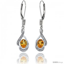 14K White Gold Natural Citrine Lever Back Earrings, 1 7/16 in long