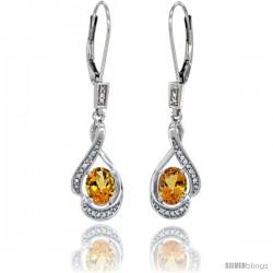 14K White Gold Natural Citrine Lever Back Earrings, 1 7/16 in long