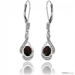 14K White Gold Natural Garnet Lever Back Earrings, 1 7/16 in long