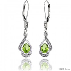 14K White Gold Natural Peridot Lever Back Earrings, 1 7/16 in long