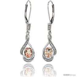 14K White Gold Natural Morganite Lever Back Earrings, 1 7/16 in long
