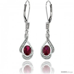 14K White Gold Natural Ruby Lever Back Earrings, 1 7/16 in long