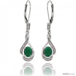 14K White Gold Natural Emerald Lever Back Earrings, 1 7/16 in long