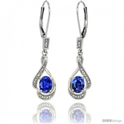 14K White Gold Natural Blue Sapphire Lever Back Earrings, 1 7/16 in long