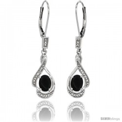 14K White Gold Natural Black Onyx Lever Back Earrings, 1 7/16 in long