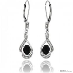 14K White Gold Natural Black Onyx Lever Back Earrings, 1 7/16 in long