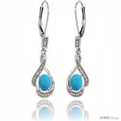 14K White Gold Natural Turquoise Lever Back Earrings, 1 7/16 in long