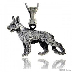 Sterling Silver German Shepherd Dog Pendant