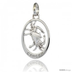 Sterling Silver CANCER Zodiac Sign Pendant (Jun. 21 - Jul. 22) Flawless Quality, 3/4 in (18 mm) tall