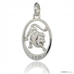 Sterling Silver LEO Zodiac Sign Pendant (Jul. 23 - Aug. 22) Flawless Quality, 3/4 in (18 mm) tall