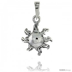 Sterling Silver Sun Pendant, 3/4 in (17 mm) tall