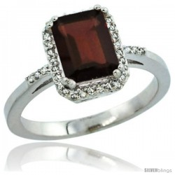 Sterling Silver Diamond Natural Garnet Ring 1.6 ct Emerald Shape 8x6 mm, 1/2 in wide -Style Cwg10129