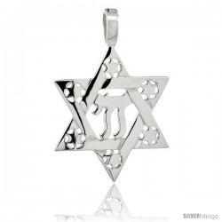 Sterling Silver Chai Star of David 1 in (24 mm) tall