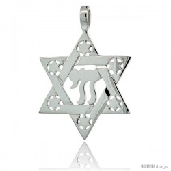 Sterling Silver Chai Star of David 1 1/4 in (31 mm) tall