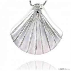 Sterling Silver Clam Shell Pendant Flawless Quality, 1 1/8 in (29 mm) tall