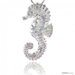 Sterling Silver Seahorse Pendant Flawless Quality, 1 1/2 in (38 mm) tall