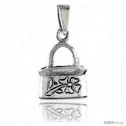 Sterling Silver Purse Pendant, w/ Flower Design, 1/2 in (14 mm) tall