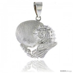 Sterling Silver Mollusk Seashells Pendant Flawless Quality, 1 in (24 mm) tall
