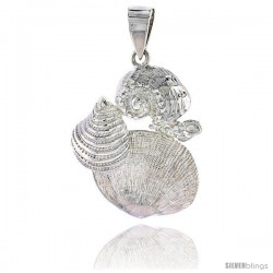 Sterling Silver Mollusk Seashells Pendant Flawless Quality, 1 3/16 in (29 mm) tall