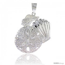 Sterling Silver Sand Dollar & Snail Seashells Pendant Flawless Quality, 1 1/2 in (37 mm) tall
