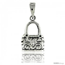 Sterling Silver Purse Pendant, w/ Floral Design, 3/4 in (18 mm) tall