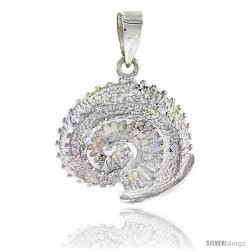 Sterling Silver Sea Snail Pendant Flawless Quality, 3/4 in (20 mm) tall