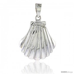Sterling Silver Scallop Clam Shell Pendant Flawless Quality, 1 in (23 mm) tall