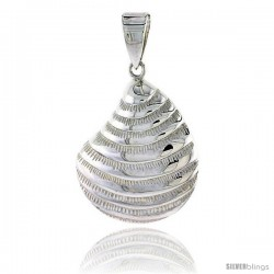 Sterling Silver Clam Shell Pendant Flawless Quality, 1 1/8 in (26 mm) tall