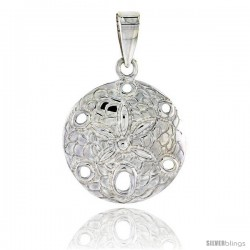 Sterling Silver Round Sand Dollar Pendant Flawless Quality, 3/4 in (19 mm) tall