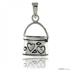 Sterling Silver Purse Pendant w/ Hearts, 5/8 in (16 mm) tall