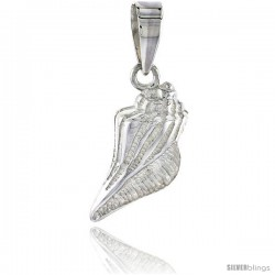 Sterling Silver Conch Seashell Pendant Flawless Quality, 3/4 in (17 mm) tall