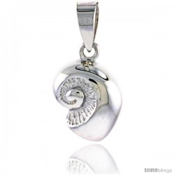 Sterling Silver Snail Seashell Pendant Flawless Quality, 1/2 in (14 mm) tall