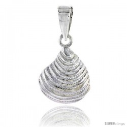 Sterling Silver Clam Shell Pendant Flawless Quality, 1/2 in (14 mm) tall