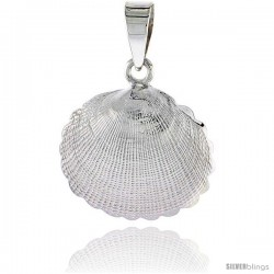Sterling Silver Clam Shell Pendant Flawless Quality, 3/4 in (17 mm) tall