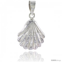 Sterling Silver Scallop Clam Shell Pendant Flawless Quality, 3/4 in (19 mm) tall